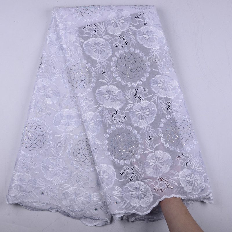 White African Cotton Lace Fabric 2019 High Quality Lace Swiss Voile Lace In Switzerland With Stones