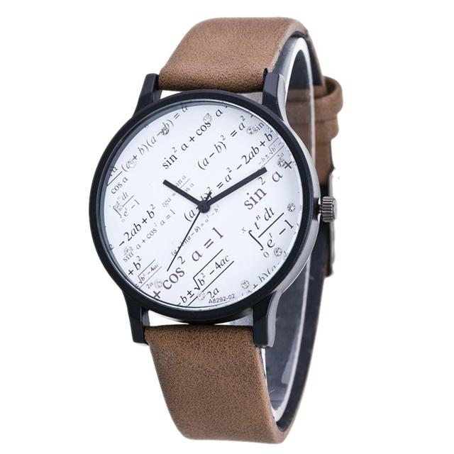 2018 Women Men Watches Casual Fashion Faux Leather Band Geometric Equation Coupl