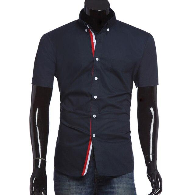 Homens de manga curta gola virada para baixo fino vestido branco azul Chemise Homme camisa homens Camisas