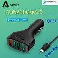 Aukey nexus 6 qc2.0 4 usb cargador de coche para samsung s6 s7 borde qualcomm carga rápida 2.0 auto adaptador de teléfono para iphone 7 lg xiaomi