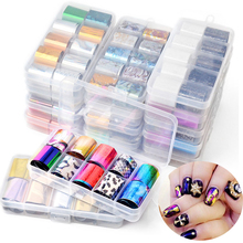 10pcs/set 2.5*100cm Mixed Design Holographic Nail Art Transfer Foil Stickers Starry AB Color UV Gel Decals DIY Decor