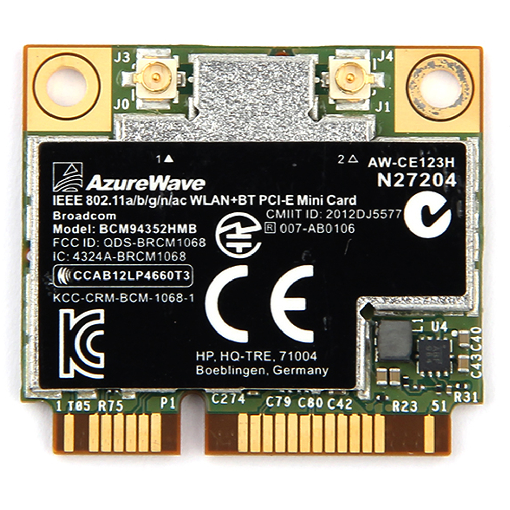 AzureWave Broadcom BCM94352HMB 802 11ac 867Mbps Wireless-AC WLAN+Bluetooth  BT 4 0 Half Mini PCI-E Wireless Wifi card AW-CE123H