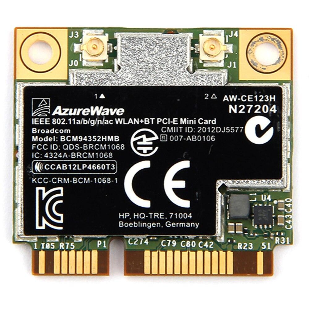 Hauteur azurewave Broadcom BCM94352HMB 802.11ac 867 Mbps Sans Fil-AC WLAN + Bluetooth BT 4.0 Demi Mini PCI-E Sans Fil Wifi carte AW-CE123H