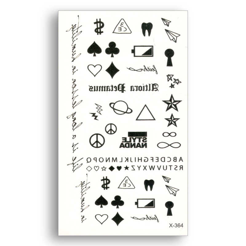 Water Transfer Fake tattoo Disposable Waterproof Temporary Stickers beauty Cool Body Art Beauty Makeup Words $ Paper Plane
