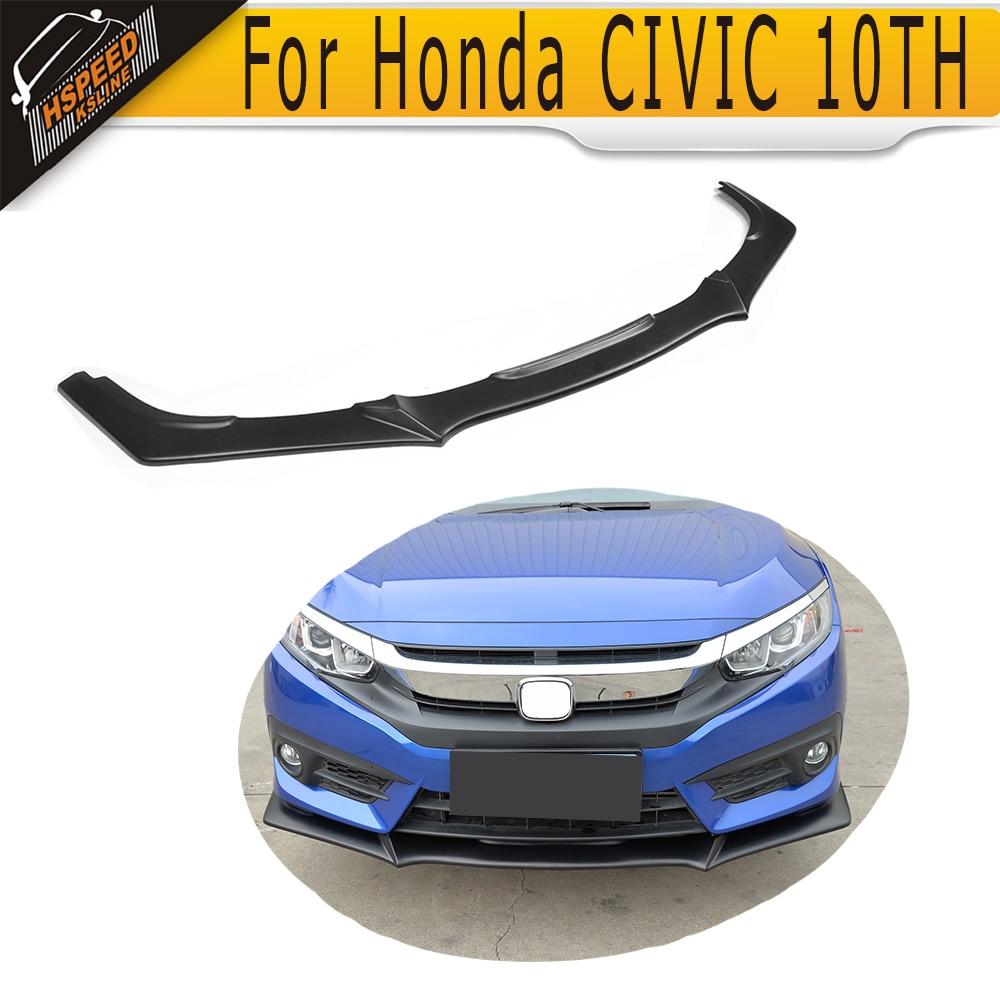 Matt Black Front Lip Spoiler For Honda CIVIC 10TH 2016 2017 Type R Style DX EX EX-L LX Touring Turbo PU elemax sh 3900 ex r