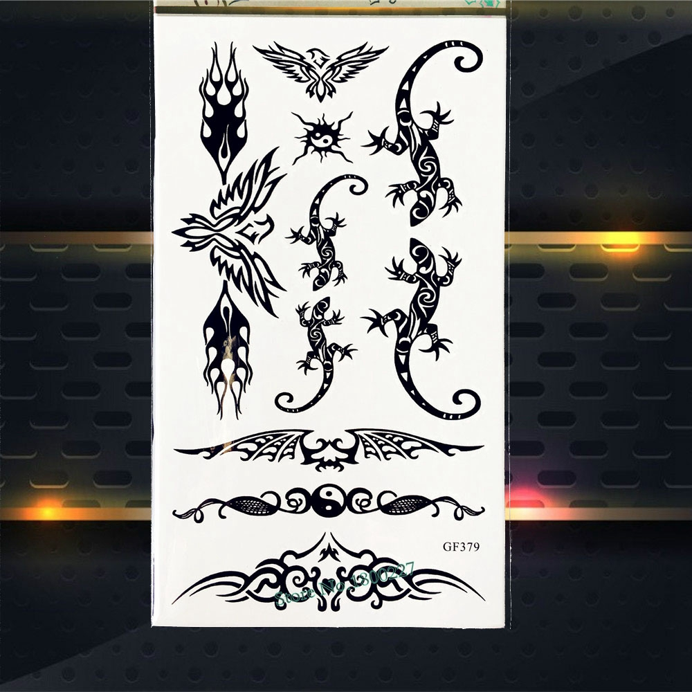 Black Gecko Designs Temporary Tattoo Stickers Fake Flash Body Arm Tattoo Paste PGF379 Men Totem Tattoo Disposable Sticker Summer