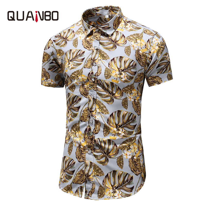 QUANBO 2019 Clothes Summer New Arrival Mens Plus Size Print Short Sleeve Shirts Casual Thin Hawaiian Shirt 5xl 6xl 7xl