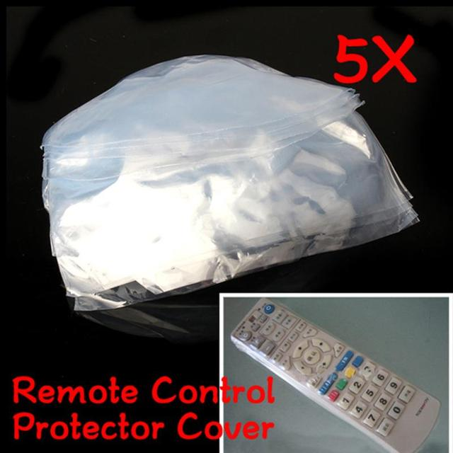 5pcs Remote Control Cover Silicone Transparent TV Remote Control Case Air Conditioning Dust Protect Storage Bag