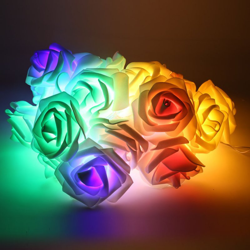 Hearty High Quality 2.2m Wedding Rose Led String Lights Battery Holiday Decoration Lightings Rosa Led Guirlande Lumineuse A Plastic Case Is Compartmentalized For Safe Storage Artificial & Dried Flowers Artificial Decorations