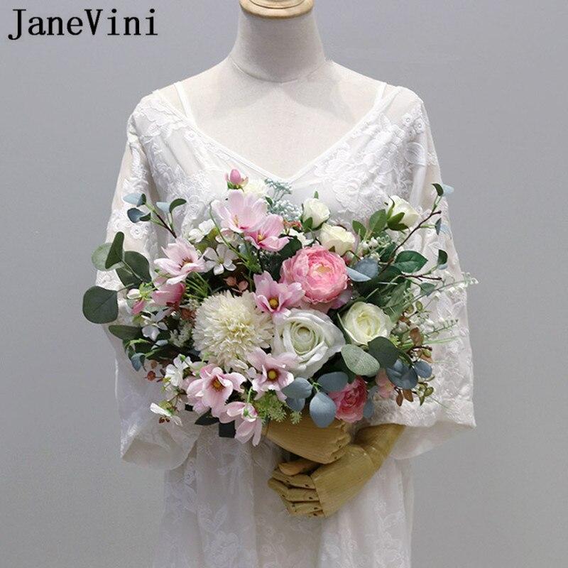 JaneVini élégant Rose Bouquets de mariage nuptiale tenant fleur vraie touche artificielle soie Rose mariée accessoires Ramo Flores Novia