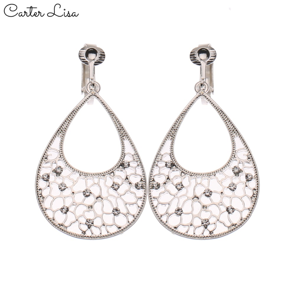CARTER LISA Women Without Piercing Fashion Clip Earrings Rhinestone Earrings No Pierced Ear Clips Romantic Earrings Jewelry