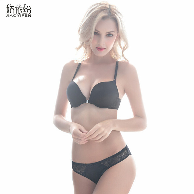 ba9abe686077 Hot Sale Sexy Women Cozy Victoria Underwear Sexy Seamless Bra Set Smooth  Sexy Lace Strap Lingerie Deep V Push Up Bra Sets