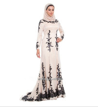 2016 Muslim Evening Dresses A-line Long Sleeves Ivory Black Appliques Islamic Dubai Abaya Kaftan Long Evening Gown Prom Dress