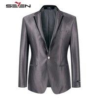 Seven7 бренд на весну и зиму мужские Пиджаки для женщин тонкий мужской пиджак серый серебристый Цвет высокое качество Повседневное Формальные...