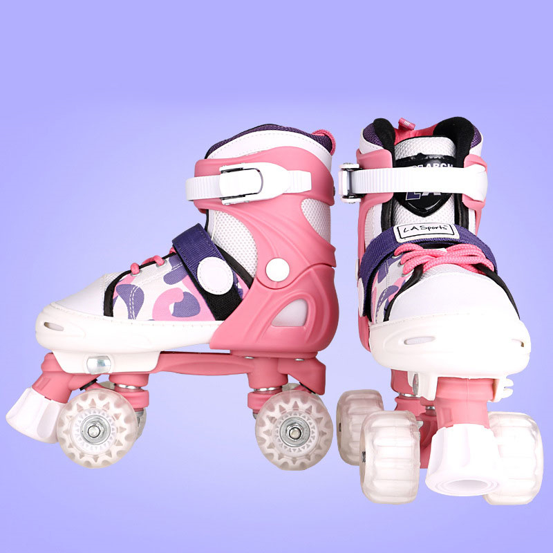Recommend Kids Boys Girls Children Roller Skates Quad 4 Wheels Double Line Roller Shoes Adjustable Size Changeable S M L Size soft line linley m l