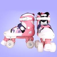 Recommend Kids Boys Girls Children Roller Skates Quad 4 Wheels Double Line Roller Shoes Adjustable Size Changeable S M L Size