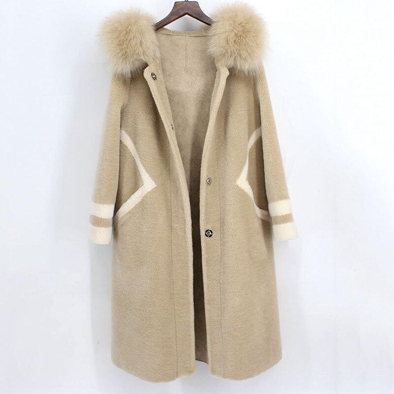 Reale tosato cappotto di pelliccia per le donne Tosatura Delle Pecore Cappotto Femme 2018 Naturale Cappotto di Pelliccia Femminile Giacca Lungo Inverno Caldo di Agnello cappotto di pelliccia