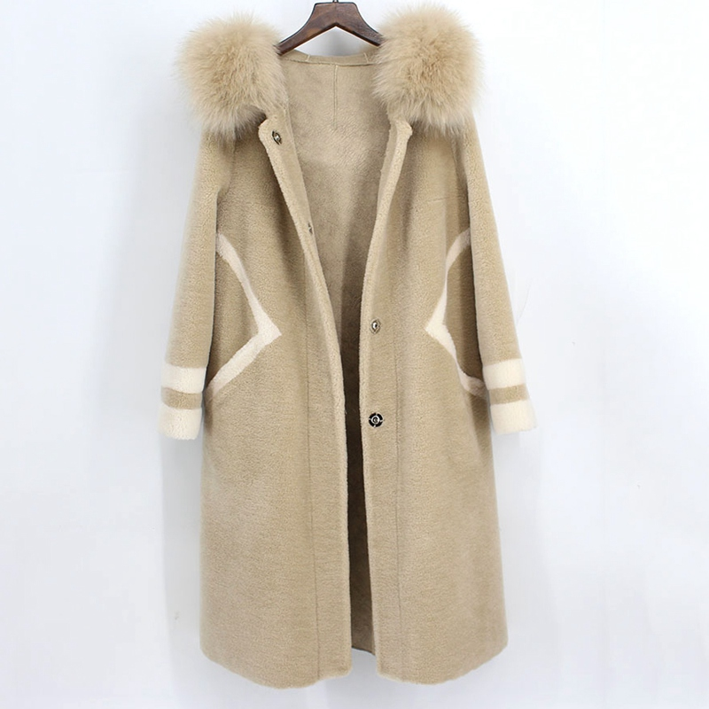 real sheared fur coat for women Sheep Shearing Overcoat Femme 2018 Natural Fur Coat Female Jacket Long Winter Warm Lamb Fur coat