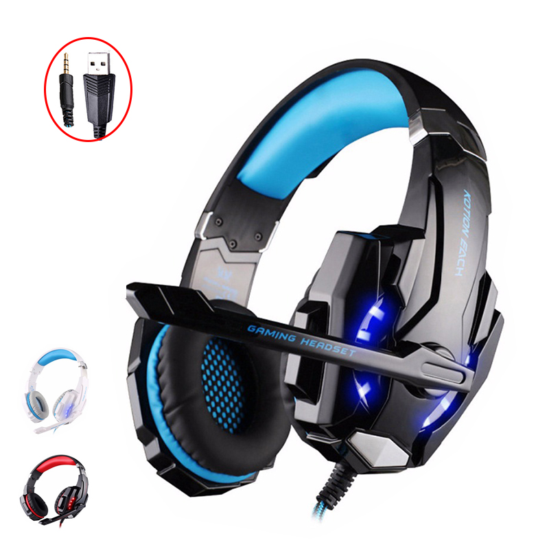 KOTION EACH G9000 Earphones Gaming Headset headphones With Mic LED Light For Laptop Tablet computer PC Earphone Stereo Headset 2016 pro skype gaming stereo headphones headset earphone mic pc computer laptop sa 708 gaming headphones