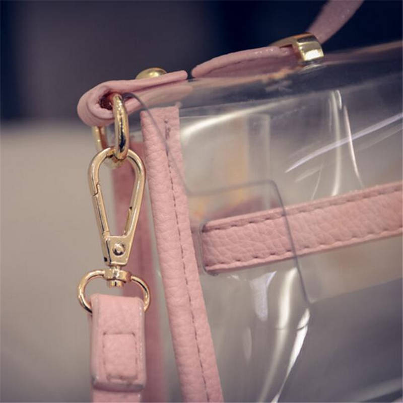 2018 New Design Transparent Bag Transverse Clear Platinum Package Summer Beach Bag Small Tote Shoulder Bag Women Crossbody Bags