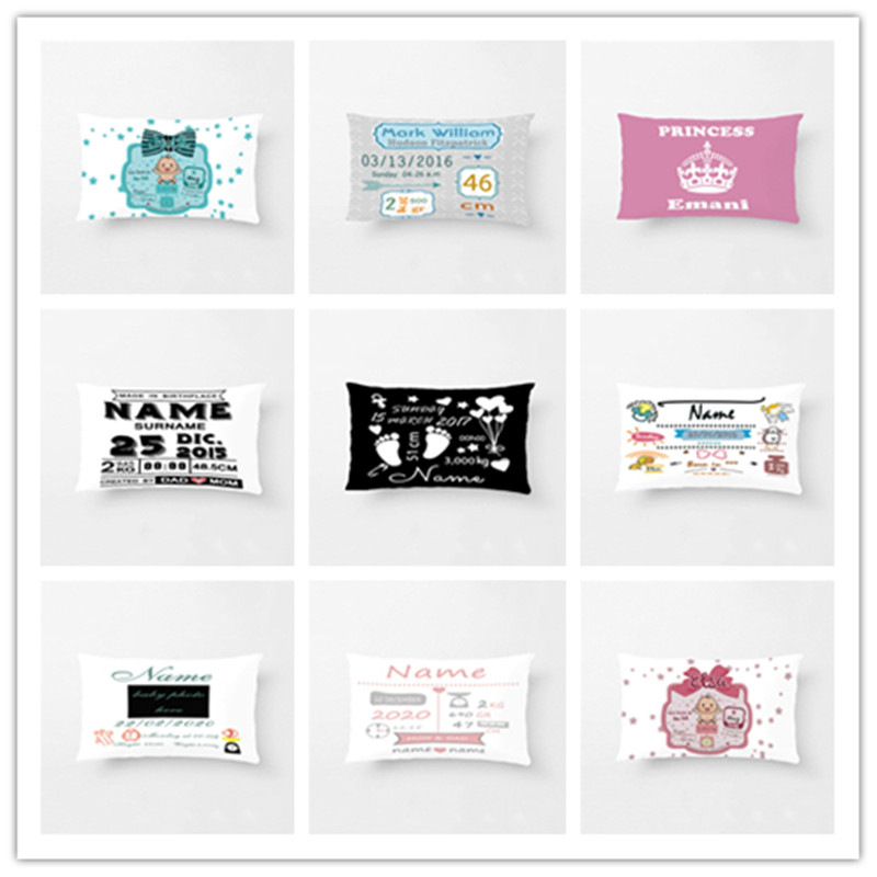 Custom Kids Cushion Cover Cute Blue Pink Pillow Cover Square Polyester Children Pillow Case Boy and Girl Birth Stats for Gift
