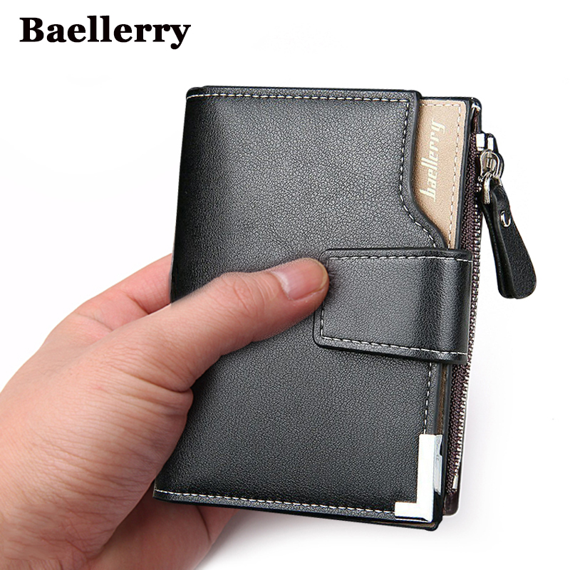 POQOQ Wallets Pocket Gifts Slim Minimalist Front Pocket Hook Blocking Leather