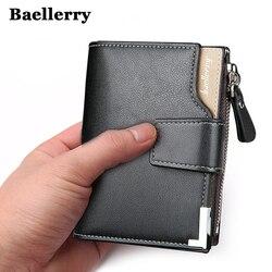 Baellerry العلامة التجارية المحفظة الرجال جلد الرجال محافظ محفظة قصيرة الذكور مخلب جلد محفظة رجل المال حقيبة ضمان الجودة