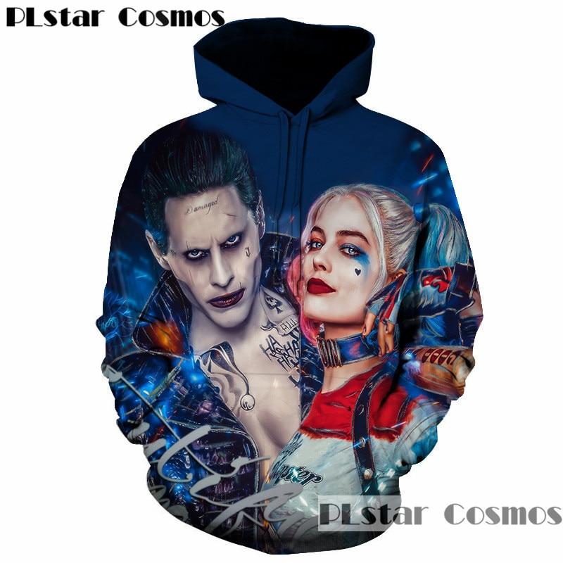 PLstar Cosmos New Suicide Squad Joker Harley Quinn 3d Print Sweatshirt Men Women Funny Hoodies Cool Streetwear Thin Pullover