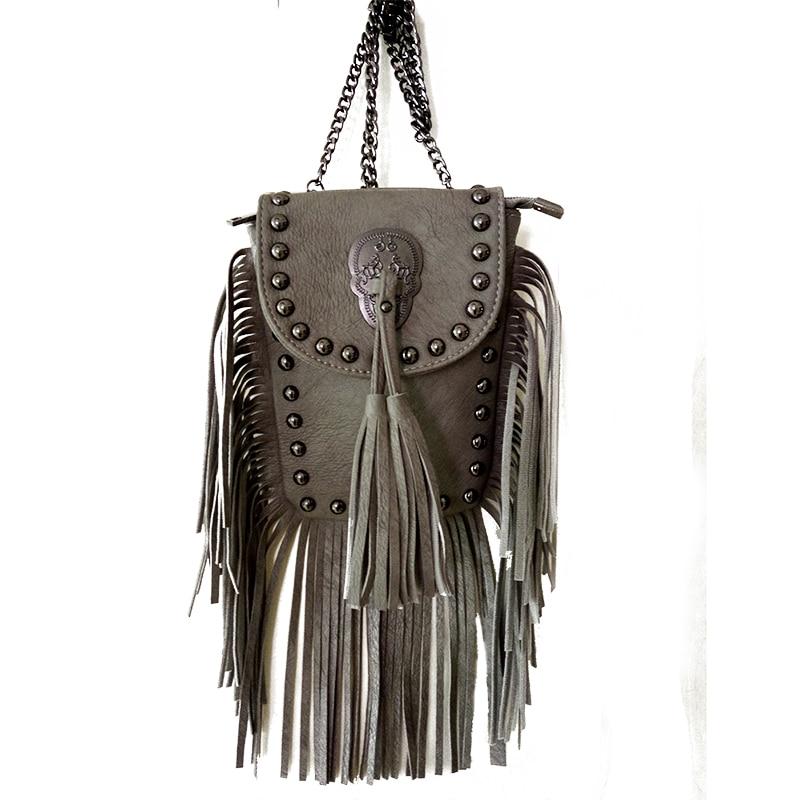 women black tassel bag classic flap bag PU leather small shoulder crossbody bag