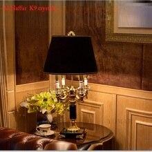 Роскошные K9 Большой Черный Кристалл Настольная лампа мода кристалл настольные лампы для спальни таблице кристалл света оттенок ткани светодио дный