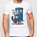 2015 мода доктор кто Полиция Box печати Животных Сердитый Кот футболка мужская с коротким рукавом футболки плюс размер футболки одежда