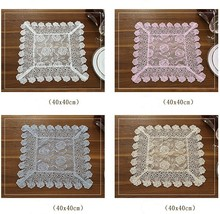 Square 40cm European Fabric Coaster Dining Table Mat Insulation Pad Modern Western Tray Rose Flower Embroidery Lace Placemat