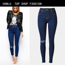 HANLU Spring Hot Fashion hole ripped jeans women pants denim vintage straight jeans for girl casual pants female Women's Jeans