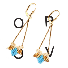 FAIRYWOO Wholesale Boho Miyuki Earring Luck Woman Crystal Jewelry Star Irregular Statement Sweet Hanging Long Drop