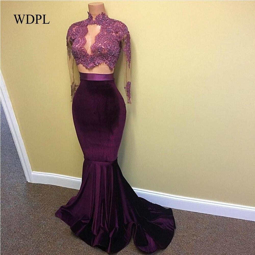 Бархат Вечерние платья вечерние платья высокого Средства ухода за кожей Шеи Vestidos De Festa фиолетовое вечернее платья Аппликация вечернее плат