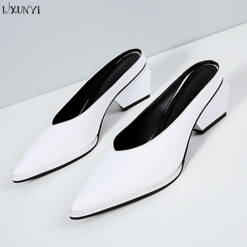 LXUNYI Cow Leather Chunky Heels Women Shoes Slip on Slippers Mules Fashion 2018 Solid Ladies Shoes Platform Loafer Flip Flop