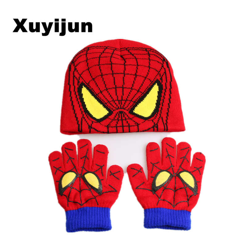 Xuyijun <font><b>Gloves</b></font> + hat <font><b>Children's</b></font> Winter Cartoon <font><b>Glove</b></font> Hat Sets Fashion Kids Baby Warm Knitted Caps <font><b>Spiderman</b></font> hat <font><b>gloves</b></font>