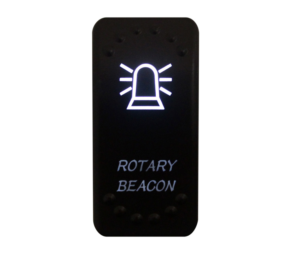 12v/24v Car Boat ROTARY BEACON Rocker Switch White Led 3 pin spst on-off Replacement for Carling ARB STYLE Waterproof IP66