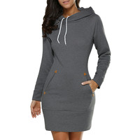 Neue Heiße Verkauf Dunkelgrau Sexy Lässig und Mode Frauen Damen Mit Kapuze Sweatshirt Langarm Hoodies Jumper Minikleid