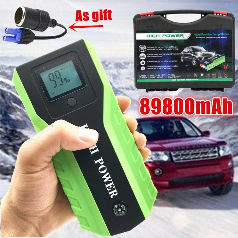 89800mAh 12V essence Diesel voiture saut démarreur 600A multi-fonction dispositif de démarrage batterie externe chargeur de voiture pour voiture batterie Booster