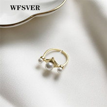 WFSVER korea style 925 sterling silver jewelry ring gold color round pearl ring for women gift opening adjustable fine jewelr wfsver women gold color 925 sterling silver simple ring korea style with pearl rings opening adjustable fine jewelry gift