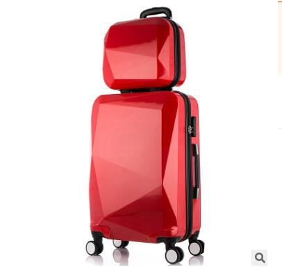 Women Travel Luggage Trolley suitcase Luxury Brand Case Rolling Case On Wheels With Cosmetic Case