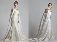 Fabulous Wedding Dresses 2017 Vintage Gold Applique Matte Sashes Satin Court Train Mermaid Bridal Gown With Cape
