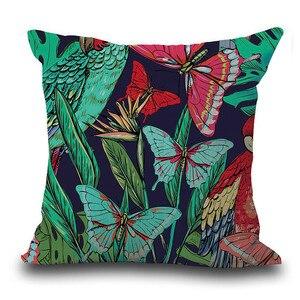 Image 4 - Housse de coussin en feuilles tropicales, Vintage de fleurs, couverture de coussin en coton et en lin coloré, canapé à la taille, housse de coussin, art décoratif à la maison
