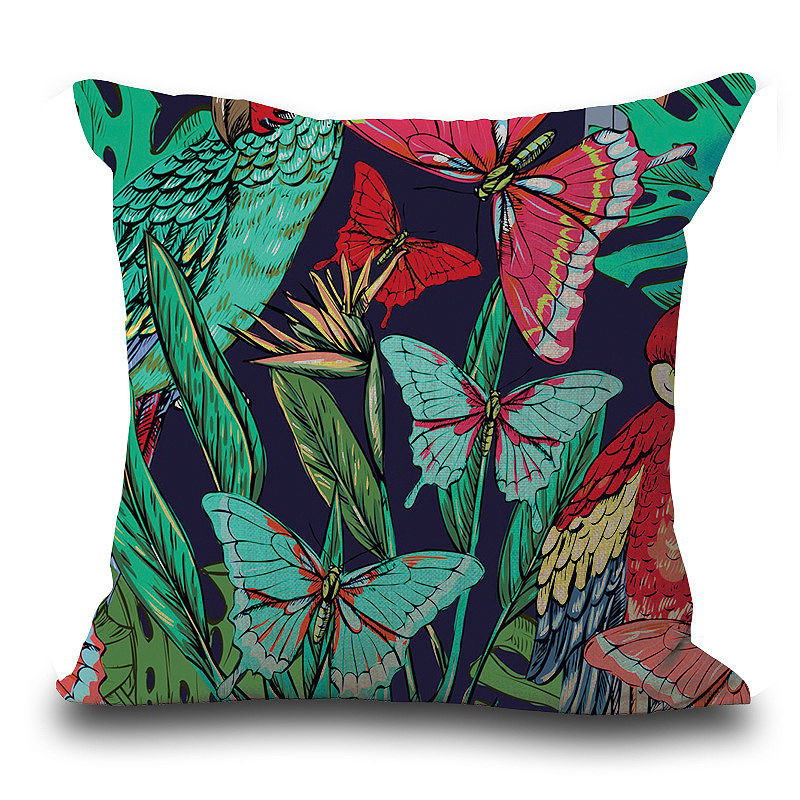 Image 4 - Vintage Flower Tropical Leaves Pillow Cover Colorful Cotton & Linen sofa Waist Throw Cushion Cover Home art decorative-in Cushion Cover from Home & Garden