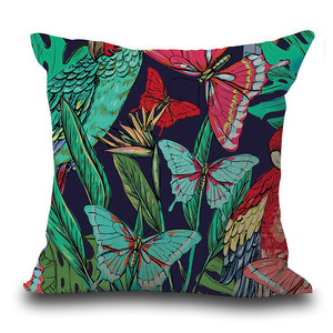 Image 4 - Vintage Flower Tropical Leaves Pillow Cover Colorful Cotton & Linen sofa Waist Throw Cushion Cover Home art decorative