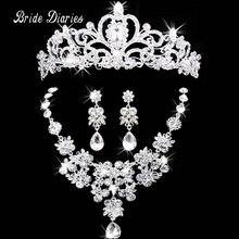 Collar y aretes de joyería nupcial corona tiara del rhinestone accesorios de la boda joyería nupcial conjuntos de cristal