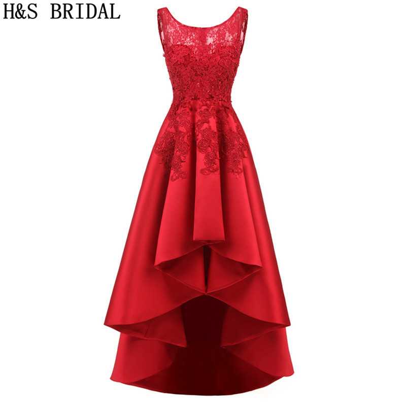 H&S BRIDAL High Low   prom     dresses   lace appliques short front back long evening party gowns formal 2019 robe de mariee