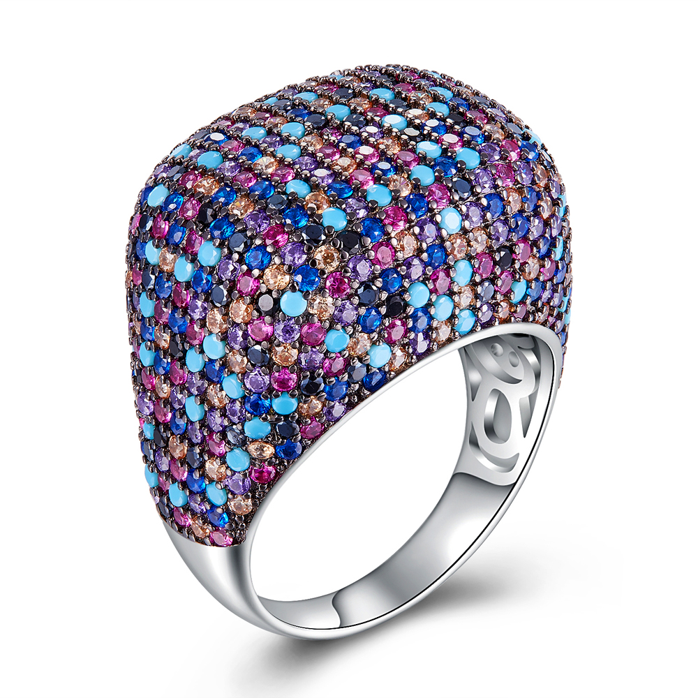 New Color Rings for women 925 silver Ring Spring style luxury big ring setting many stones