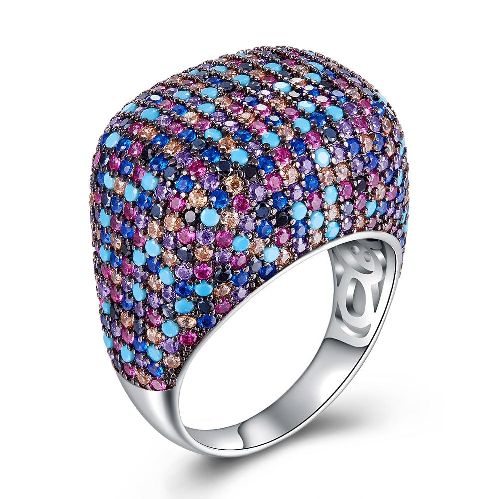 Nouvelle couleur anneaux pour femmes 925 bague en argent style printemps luxe grande bague réglage de nombreuses pierres bijoux de mode livraison gratuite-in Anneaux from Bijoux et Accessoires    1